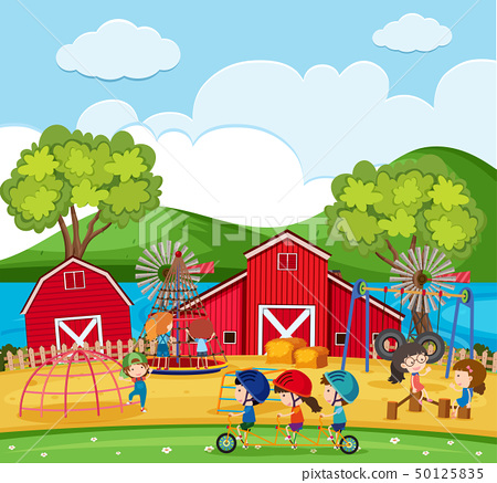 Happy children playing in the playground with 50125835