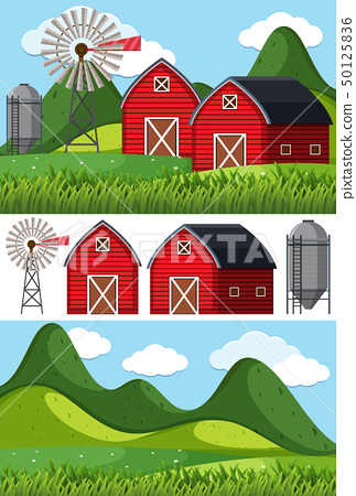 Farm scenes with red barns and windmill 50125836