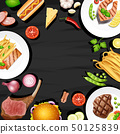 Border design with different kinds of food 50125839