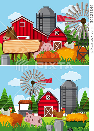 Two scenes of farmland with many animals 50125846