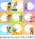 Background template with funny clowns 50125852