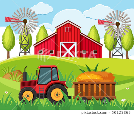 Farm scene with red tractor and barn on the hills 50125863