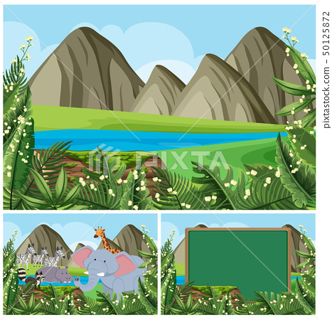 Background scenes with mountain and animals 50125872