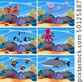 Six underwater scenes with sea animals 50125887