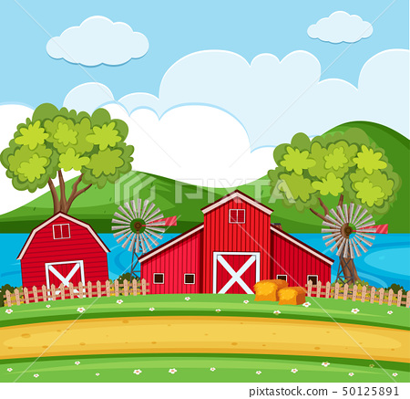 Farm scene with red barns and wind turbines 50125891