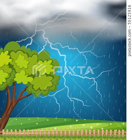 Background scene with thunder and rainstorm 50125916