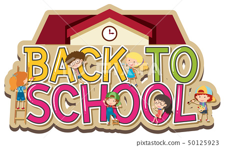 Words design for back to school with happy 50125923