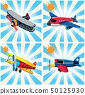 Four designs of airplanes on sky background 50125930