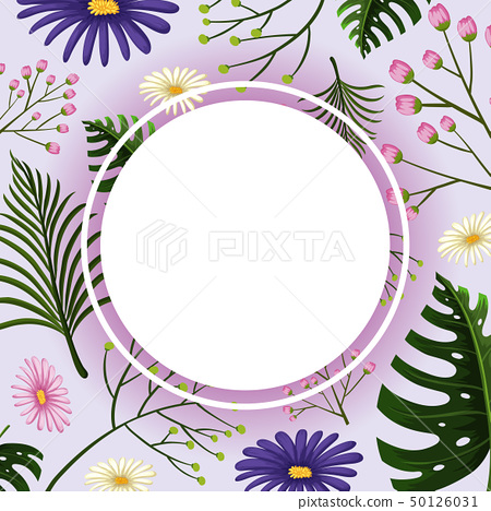 Border template with purple and pink flowers 50126031