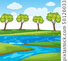 Nature scene with river and field 50126033
