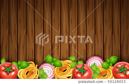Wooden board with pasta and fresh vegetables 50126053