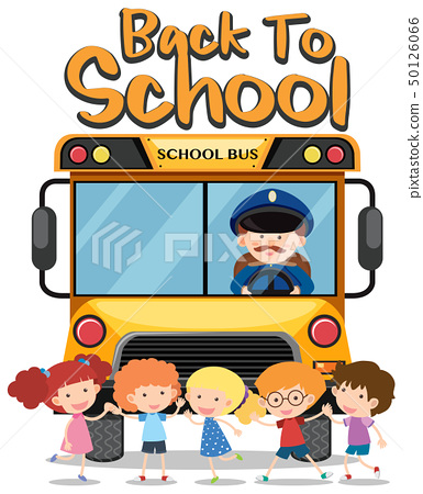 Back to school theme with kids and school bus 50126066