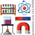 Different science equipments on white background 50126089
