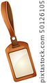 Name tag with brown leather frame 50126105