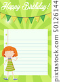 Girl on birthday note template 50126144
