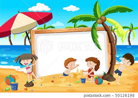 Summer beach kids banner 50126198