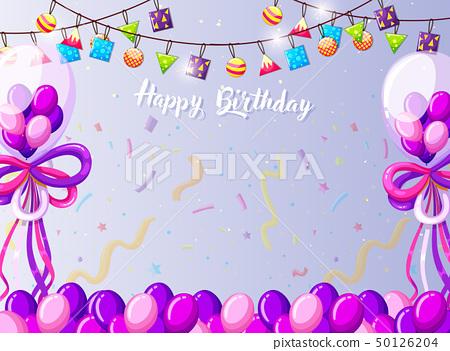 Fine Happy Birthday Card Template Stock Illustration 50126204 Pixta Personalised Birthday Cards Bromeletsinfo