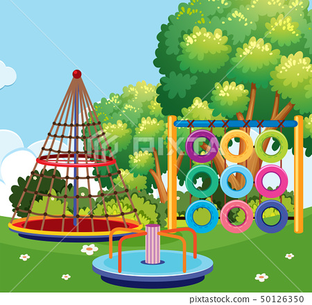Scene of playground with many stations 50126350