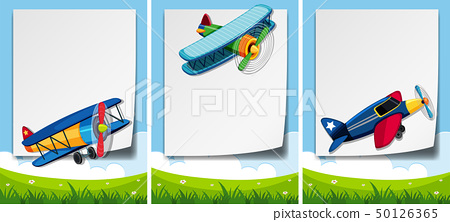 Border template with airplanes flying over the 50126365