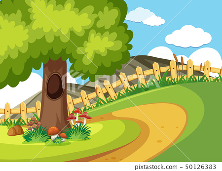 Background scene with road and tree 50126383