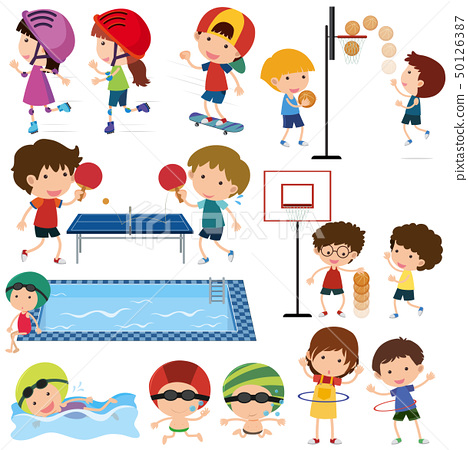 Many children playing different sports 50126387