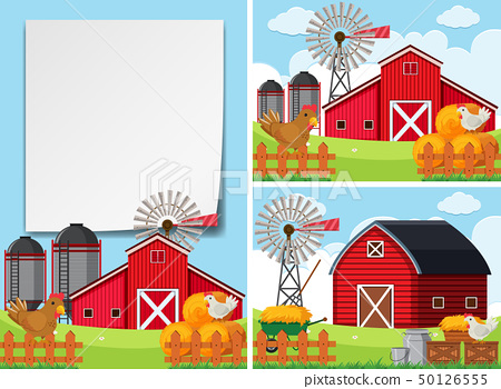 Three scenes with barns and chickens 50126555