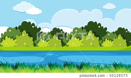 Background scene with river and grass 50126573