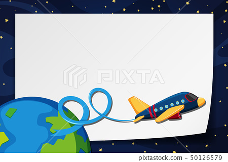 Border template with airplane flying in space 50126579