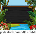 Blackboard with leaves and mushrooms 50126668