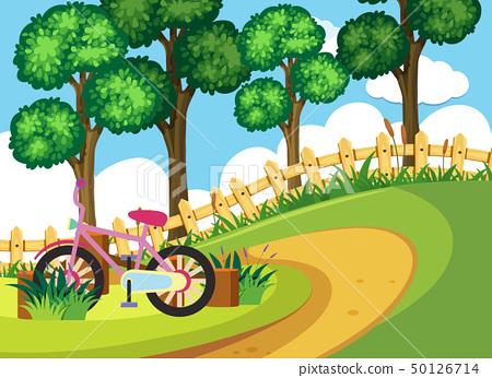 Pink bike parking in the garden 50126714