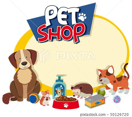 Border template with cute pets 50126720