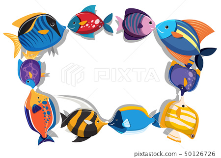 Border template with cute fish 50126726