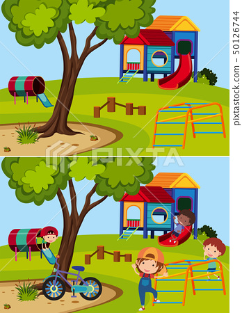Two playground scenes with and without children 50126744