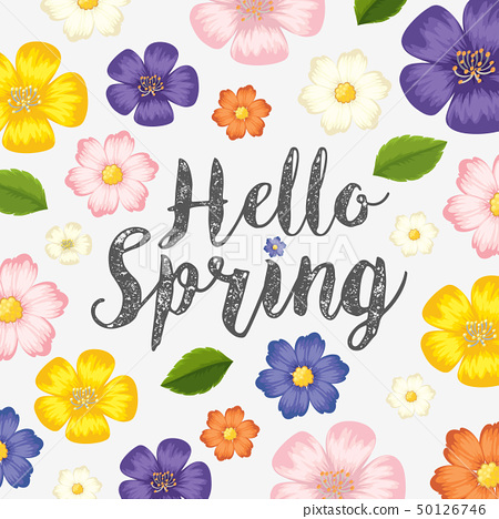 Background design with colorful flowers for spring 50126746
