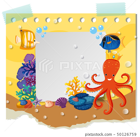 Border template with wild animals under the sea 50126759