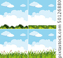 Four background scenes with blue sky and green 50126880