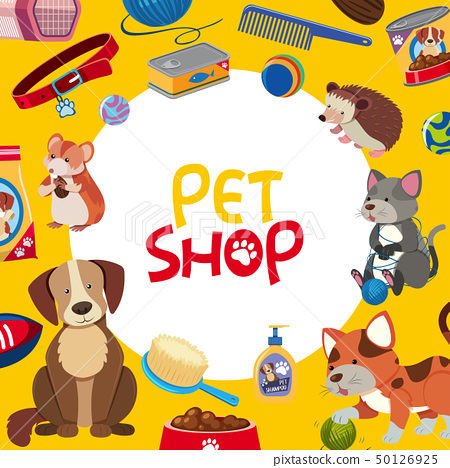 Pet shop poster design with many pets and 50126925