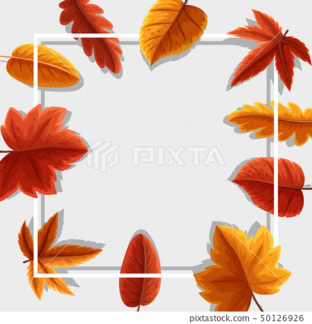Frame template with orange leaves 50126926