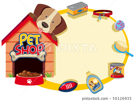 Border template with cute pet and accessories 50126935