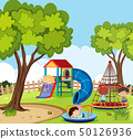 Playground scene with many kids playing 50126936