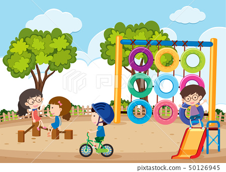 Happy children playing in the playground 50126945