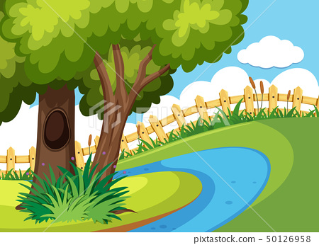 Park with green trees and river 50126958
