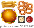 Different types of fastfood on white background 50126967