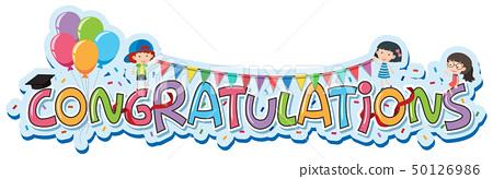 Font design for word congratulations 50126986