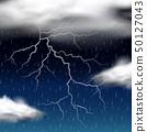 Thunder storm at night 50127043