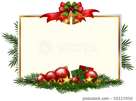 Christmas card template with red balls 50127050