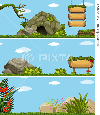 Three background scenes with wooden signs 50127054