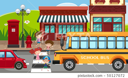 City scene with children crossing the street 50127072
