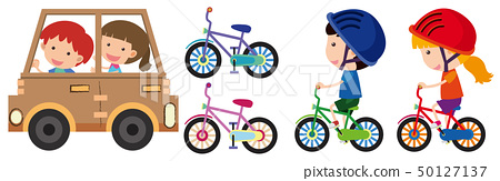 Kids playing with toy car and bike 50127137