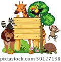Wooden sign with cute animals in the park 50127138